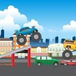 racing stunt game background, vehicles and assets