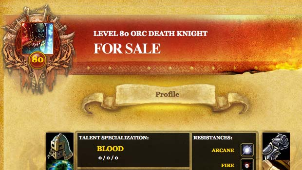 WoW character sales